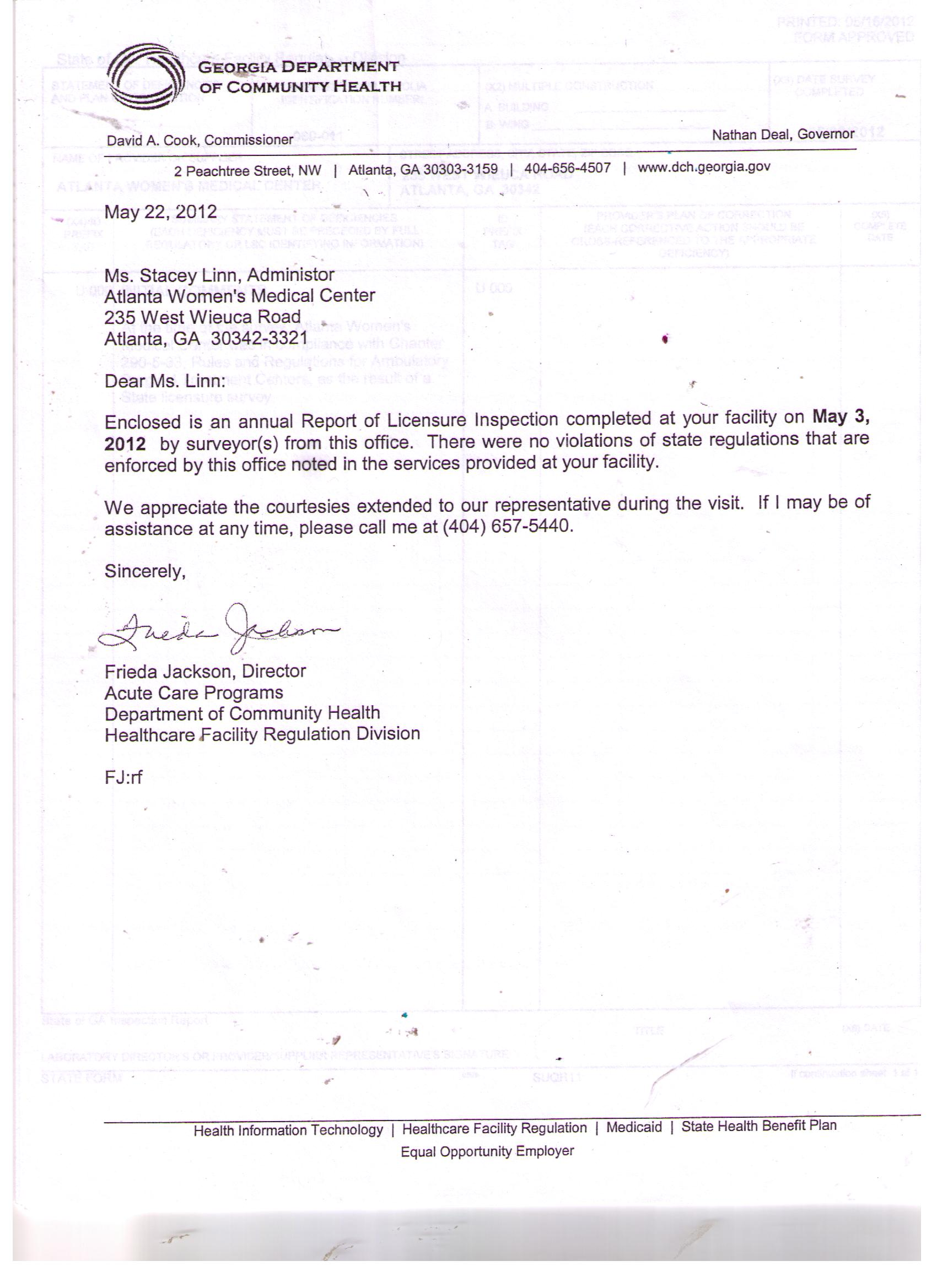 May 22,2012 letter to Atlanta Womens Medical Center from the State