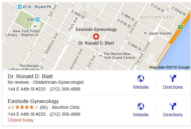 Blatt, Ronald D. - Eastside Gynecology abortion clinic