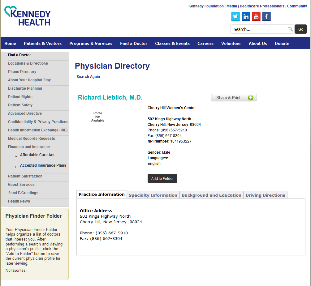Kennedy Health, physician directory - Richard Lieblich listing at Cherry Hill Women's Center abortion clinic