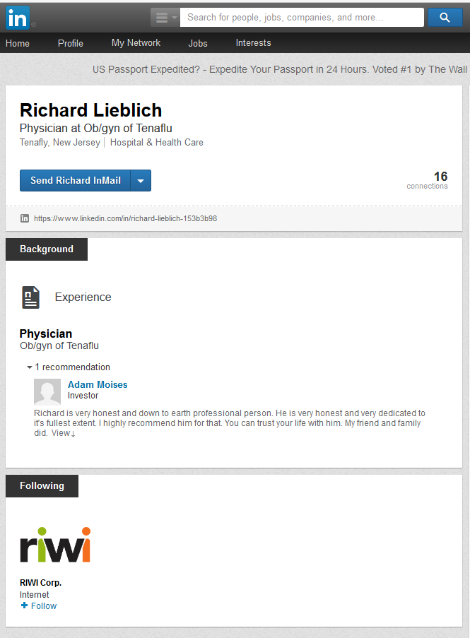 LinkedIn profile - Richard Lieblich