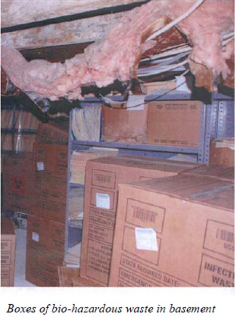 Women's Medical Society - biohazard waste stashed in basement 2