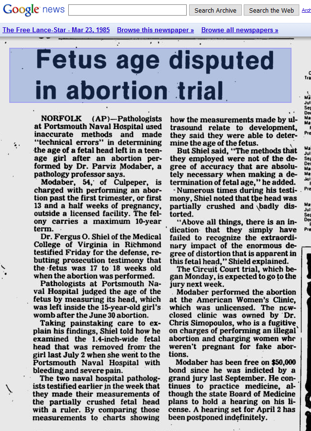 Fetus age disputed in abortion trial - The Free-Lance Star, 3-23-1985