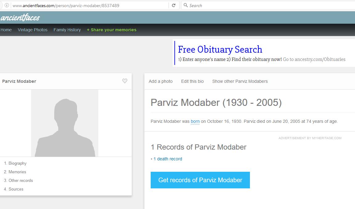 Modaber, Parviz - Oct 16, 1930 - June 20, 2005
