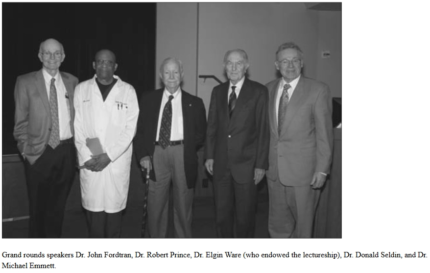 Grand Rounds speakers (captions): Fordtran, Prince, Ware, Seldin, Emmett (L to R)