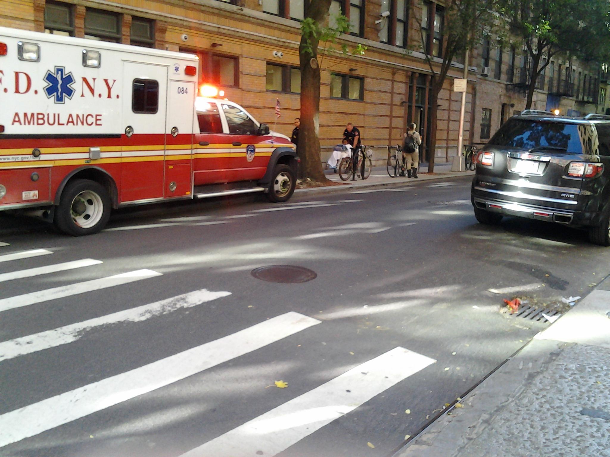 1104161208 ambulance at Bleeker St NY PP Nov 4 2016 young black lady injured 1208pm