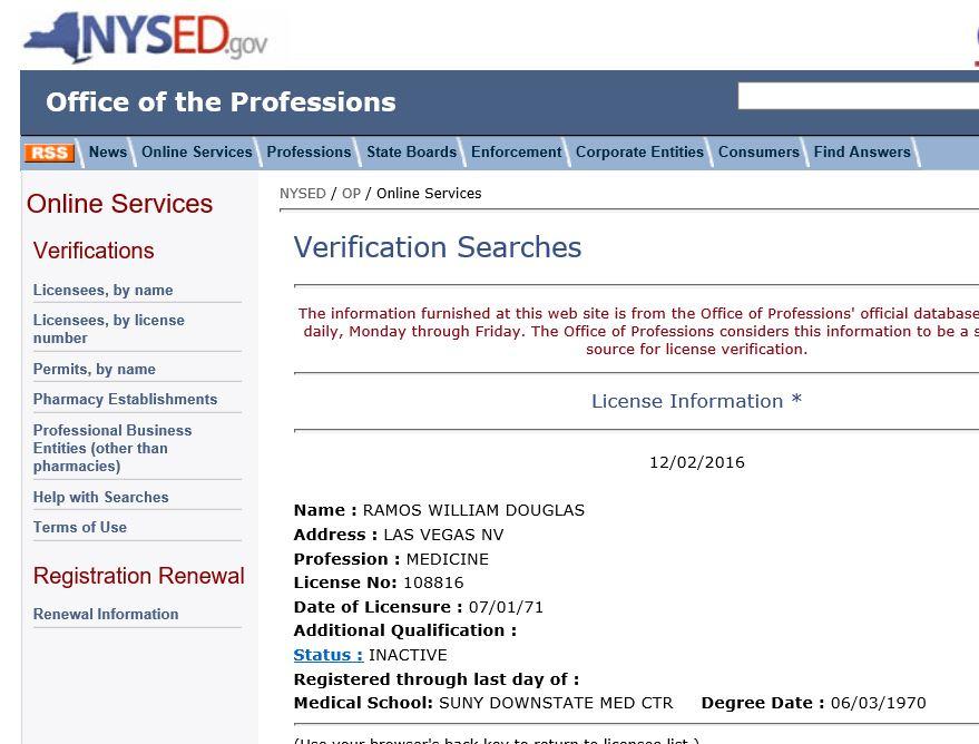 Ramos inactive NY license