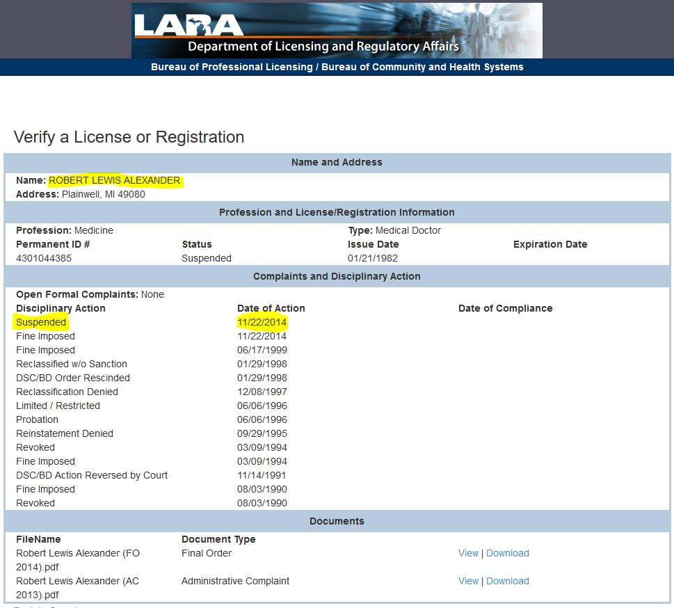Alexander, Robert Lewis - MI medical license suspended 11-22-2014