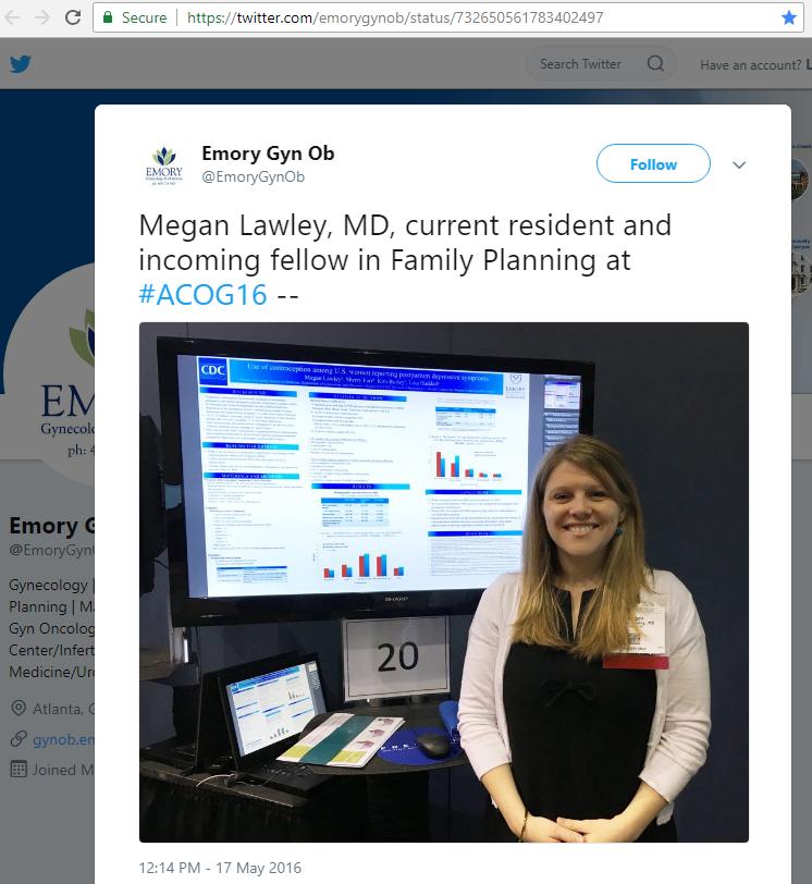 Emory Gyn Ob tweet - Megan Lawley, MD, incoming 2016 Family Planning fellow
