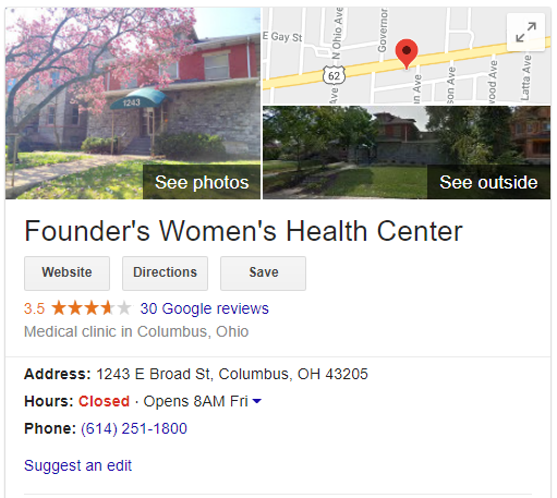 Founder's Women's Health Center (Columbus, OH) - Google pic - closed