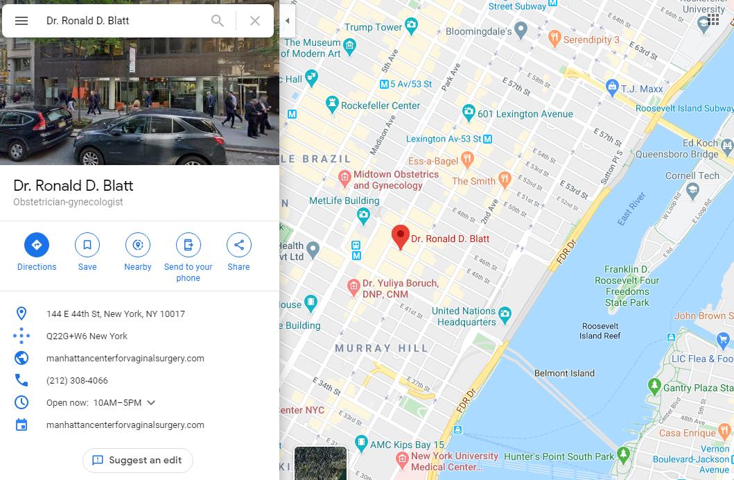 Dr Blatt - location in Manhattan -- Google Maps
