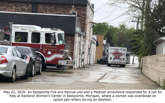 Fire and ambulance at Eastland Women's Center 5-22-2020