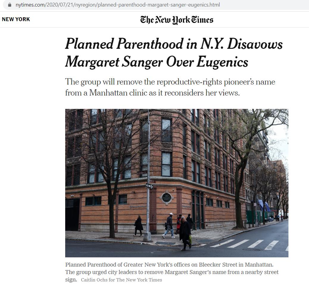 Margaret Sanger PP changes name -- New York Times screenshot